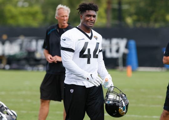 Jacksonville Jaguars middle linebacker Myles Jack (44) walks on the field during mandatory minicamp #1 at the Dream Finders Homes practice facility.