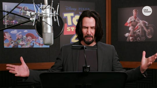 "Keanu Reeves voiced new toy Duke Caboom in ""Toy Story 4,"" a Canadian Evel Knievel-style stunt motorcyclist."
