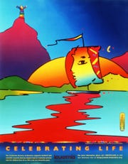 "A poster called ""Celebrating Life"" designed by Peter Max to benefit the Leukemia Society."