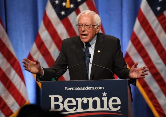 Bernie Sanders gives a speech about democratic socialism at George Washington University, June 12, 2019. .
