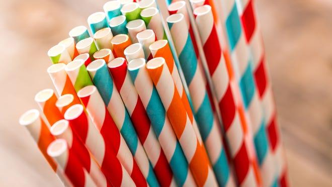 Paper straws are shown.