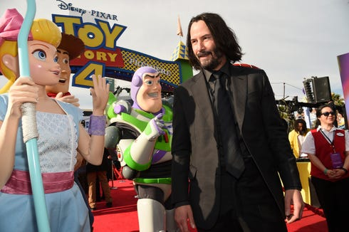 "Keanu, here at the Hollywood premiere of ""Toy Story 4"" at El Capitan, voices new character Duke Caboom in the movie."
