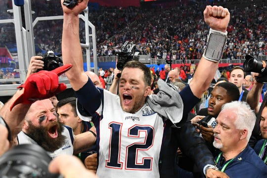 New England Patriots quarterback Tom Brady (12) reacts after Super Bowl LIII against the Los Angeles Rams at Mercedes-Benz Stadium.