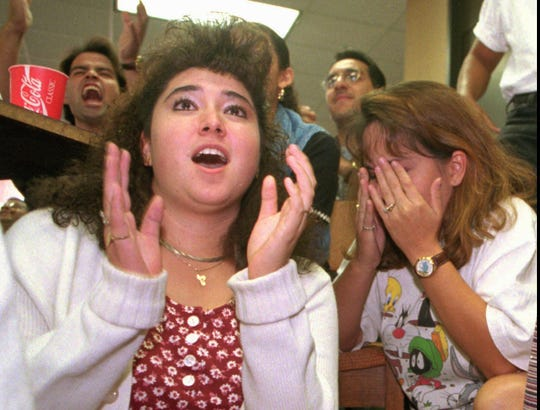 Monica Armendariz, left gasps while Lisa Canales covers her face in disbelief after the verdicts were announced at the University of Texas at El Paso.