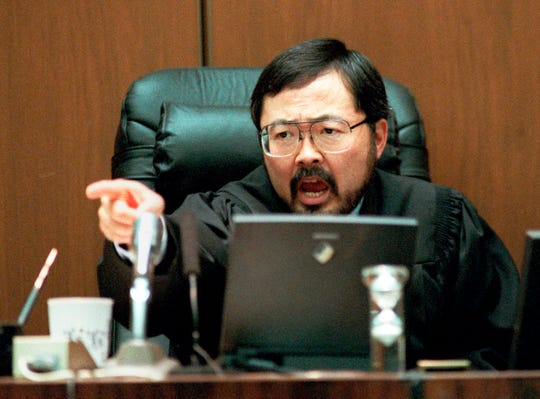 Los Angeles Superior Court Judge Lance Ito yells in court on Sept. 29, 1995.