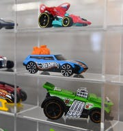 Classic Hot Wheels car in a display at Mattel's headquarters.
