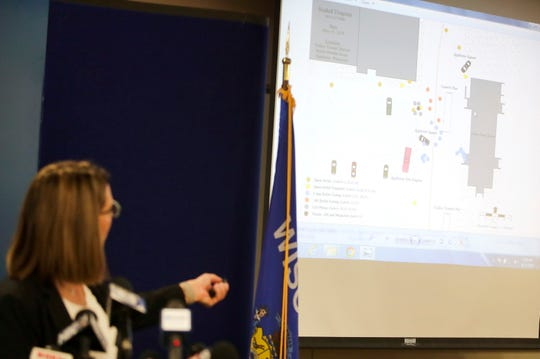 Outagamie County District Attorney Melinda Tempelis uses a map to describe the May 15 shooting at Appleton's downtown transit center that left two people dead, including an Appleton firefighter, and two others wounded.