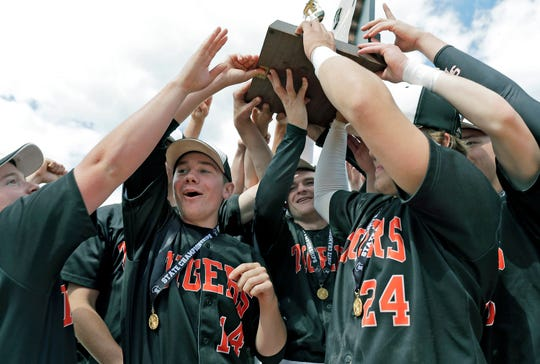 Stratford players celebrate after beating Markesan to win the WIAA Division 3 state baseball championship Thursday at Neuroscience Group Field at Fox Cities Stadium in Grand Chute.