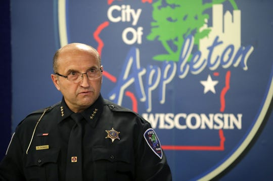 Appleton Police Chief Todd Thomas speaks during a press conference Thursday regarding the May 15 shooting at the Valley Transit Center.
