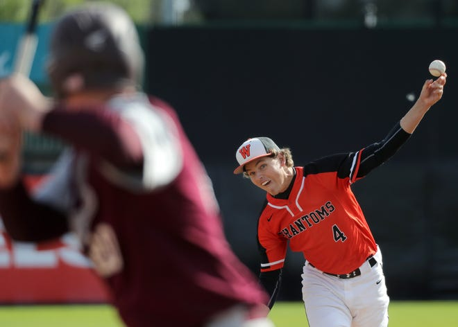 West De Pere's Connor Landgreder uncorks a pitch during Thursday's WIAA Division 2 state baseball semifinal against Antigo at Neuroscience Group Field at Fox Cities Stadium in Grand Chute.