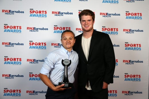 Cara DiStefano of Neptune High School, I AM SPORT award winner, poses with New York Jets quarterback Sam Darnold during the Asbury Park Press Sports Awards at Count Basie Center for Arts in Red Bank, NJ Wednesday June 12, 2019.