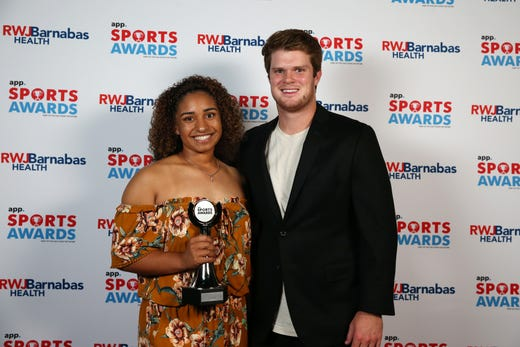 Karina Gaskins of Donovan Catholic, Softball Player of the Year, poses with New York Jets quarterback Sam Darnold during the Asbury Park Press Sports Awards at Count Basie Center for Arts in Red Bank, NJ Wednesday June 12, 2019.