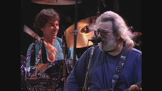 Mickey Hart, left, and Jerry Garcia of the Grateful Dead, pictured on June 17, 1991. That concert is featured in the 2019 Grateful Dead Meet-Up at the Movies.
