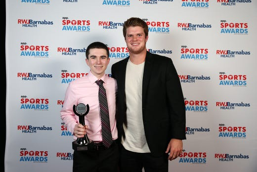Joe Ocello of Neptune High School, Boys Bowler of the Year, poses with New York Jets quarterback Sam Darnold during the Asbury Park Press Sports Awards at Count Basie Center for Arts in Red Bank, NJ Wednesday June 12, 2019.