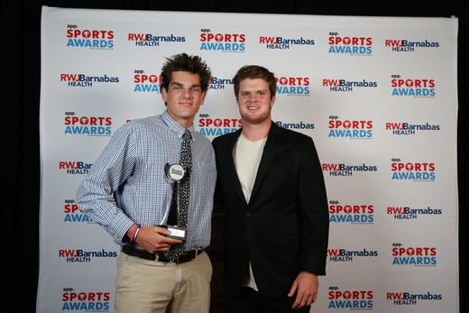 Trey Dombroski of Wall High School, Baseball Player of the Year, poses with New York Jets quarterback Sam Darnold during the Asbury Park Press Sports Awards at Count Basie Center for Arts in Red Bank, NJ Wednesday June 12, 2019.