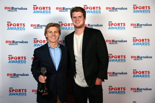Patrick Idank of Jackson Memorial High School, Boys Swimmer of the Year, poses with New York Jets quarterback Sam Darnold during the Asbury Park Press Sports Awards at Count Basie Center for Arts in Red Bank, NJ Wednesday June 12, 2019.