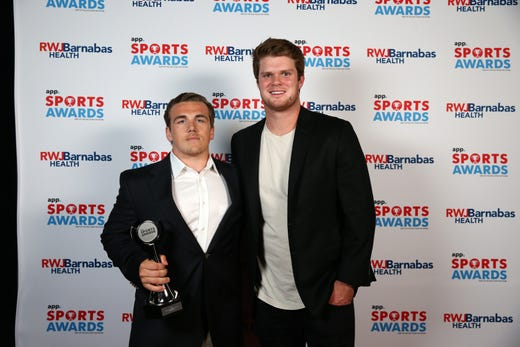 Canyon Birch of Manasquan High School, Boys Lacrosse Player of the Year, poses with New York Jets quarterback Sam Darnold during the Asbury Park Press Sports Awards at Count Basie Center for Arts in Red Bank, NJ Wednesday June 12, 2019.