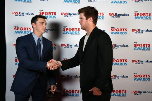 Steve Lubischer of Red Bank Catholic, Offensive Football Player of the Year, poses with New York Jets quarterback Sam Darnold during the Asbury Park Press Sports Awards at Count Basie Center for Arts in Red Bank, NJ Wednesday June 12, 2019.