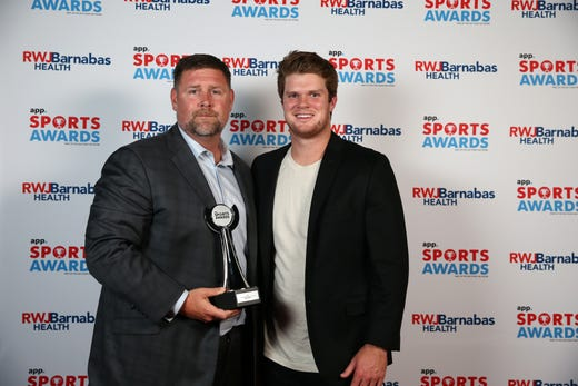 Ranney boys basketball assistant coach John Tierney poses with New York Jets quarterback Sam Darnold during the Asbury Park Press Sports Awards at Count Basie Center for Arts in Red Bank, NJ Wednesday June 12, 2019.