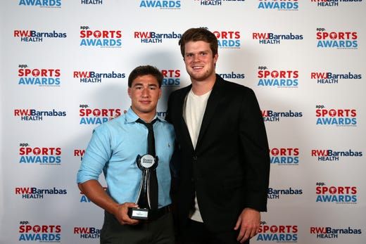 Robert Kanniard of Wall High School, Boys Wrestler of the Year, poses with New York Jets quarterback Sam Darnold during the Asbury Park Press Sports Awards at Count Basie Center for Arts in Red Bank, NJ Wednesday June 12, 2019.