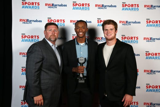 Ranney School Boys Basketball, Team of the Year, poses with New York Jets quarterback Sam Darnold during the Asbury Park Press Sports Awards at Count Basie Center for Arts in Red Bank, NJ Wednesday June 12, 2019.