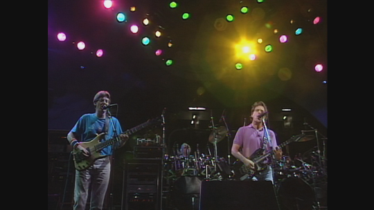 Phil Lesh, from left, Bill Kreutzmann and Bob Weir of the Grateful Dead, pictured at Giants Stadium in East Rutherford on July 17, 1991, in a scene from this year's Grateful Dead Meet-Up at the Movies.