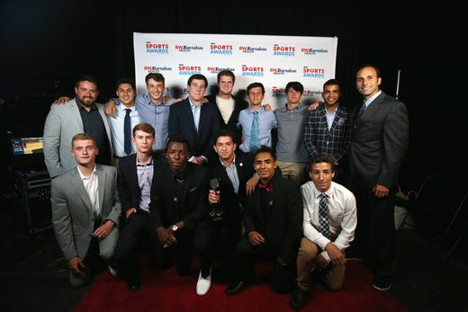 Ocean Township Boys Soccer, the Top Team: Fan Vote Award, pose with New York Jets quarterback Sam Darnold during the Asbury Park Press Sports Awards at Count Basie Center for Arts in Red Bank, NJ Wednesday June 12, 2019.