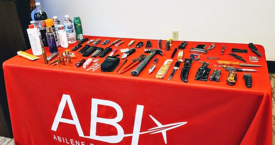 Display of items not allowed through TSA checkpoints at Abilene Regional Airport, or other airports. Some are allowed to be placed in checked baggage, others are not allowed on planes at all.