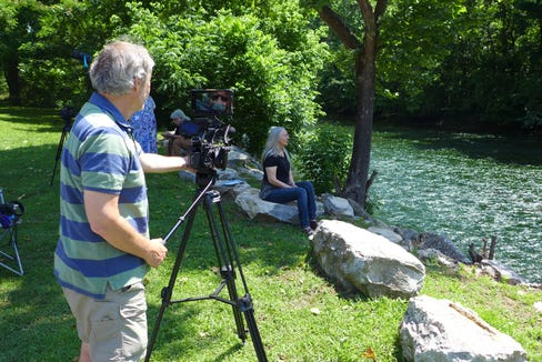 "Center for Cultural Preservation film director David Weintraub interviews Jill Hodges, member of the Dead Pigeon River Council, of Newport, Tennessee, along the Pigeon River, for the documentary ""Guardians of Our Troubled Waters."""