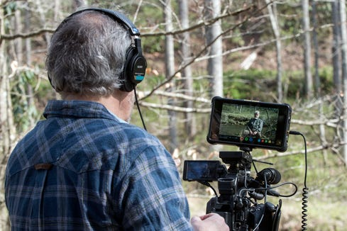 Filmmaker David Weintraub interviews Jere Brittain, a dam fighter and former director of the Upper French Broad Defense Association, Mills River, for a new documentary premiering June 20.