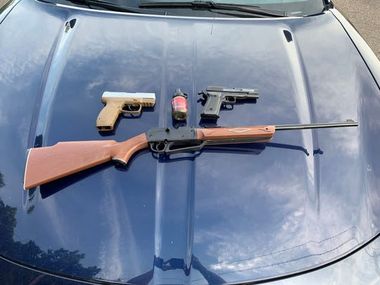 BB guns that appeared to be real firearms were seized Wednesday, June 12, 2019 from a teenager walking in the woods near TJ Watson Elementary School in the Town of Owego.