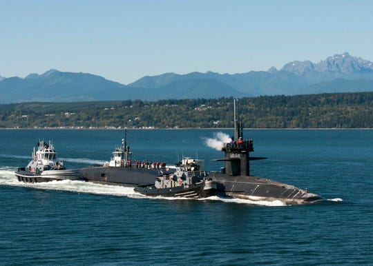 The USS Maine, seen here in Hood Canal in a 2016 photo, recently completed a nearly three-year-long overhaul at the Puget Sound Naval Shipyard that extended its service life another 12 years.