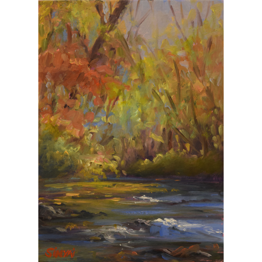 The work of artist Susan Sinyai will be just one of nine plein air artists represented from works created during this year's Art in Bloom garden tour. The work is on display through July 19.