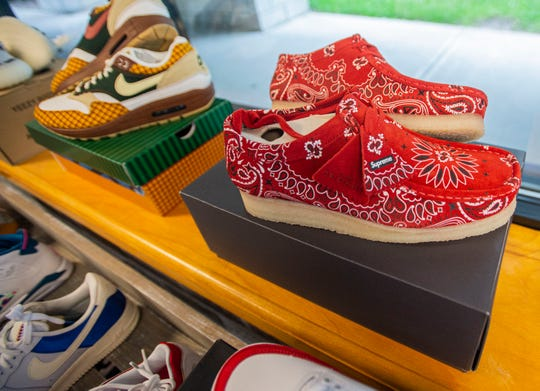 Supreme shoes being sold at Underground Closet in Burlington, VT. The store will open June 15.