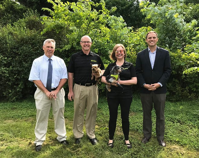 (L-R): Parks and Recreation Director Bill Bonner, Director of Training Andrew Nelson, Petland CFO Lisa Johnson and Mayor Luke Feeney toured the location of the Chillicothe Dog Park on Thursday. Petland recently announced their donation of $10,000 to go towards the project.