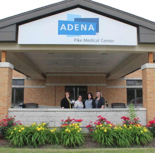 Adena and Recovery Council representatives gather for a picture outside Adena Pike Medical Center where a new inpatients detox program is underway. Picture, left to right, Lometa Smith, APMC Director of Nursing; Jennifer Crawford, Adena Licensed Social Worker; Angela Conley, The Recovery Council Nursing Supervisor and Amanda Cooper, Adena Inpatient Nurse Manager.