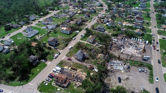 An aerial view of damage along North Dixie Highway in Dayton, where a rapid-fire line of tornadoes moved through.