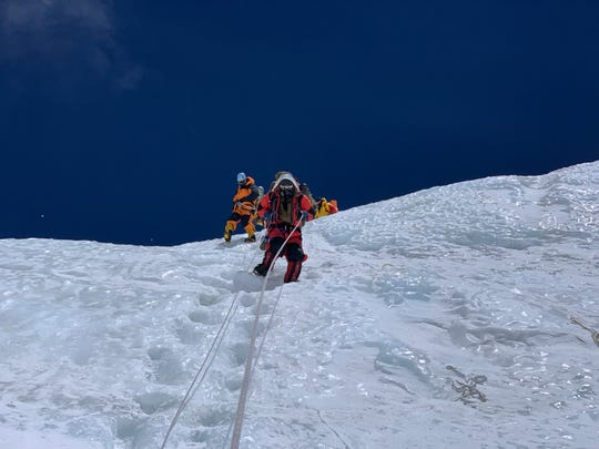University of Cincinnati graduate Matt Brennan on a steep slope of Mount Everest.