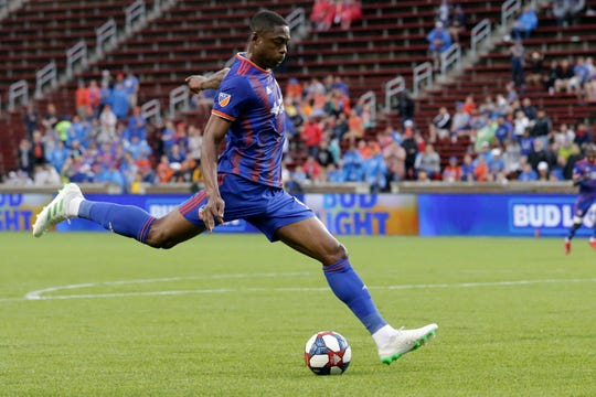 FC Cincinnati forward Fanendo Adi (9) scores a goal in the first half of a US Open Cup match against the Louisville City FC, Wednesday, June 12, 2019, at Nippert Stadium in Cincinnati.