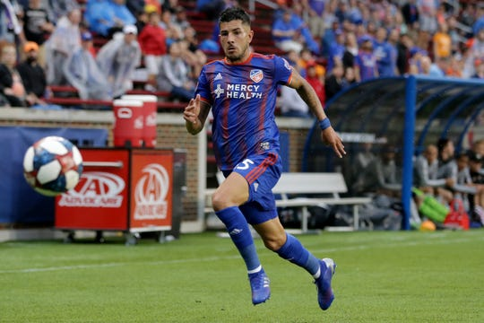 FC Cincinnati midfielder Emmanuel Ledesma (45) chases down a long pass in the first half of a US Open Cup match against the Louisville City FC, Wednesday, June 12, 2019, at Nippert Stadium in Cincinnati.