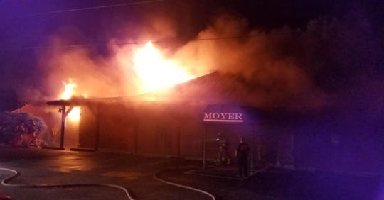 A fire tore through Moyer Winery in Adams County early Thursday morning.