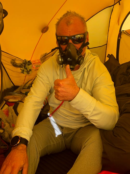 Miami Township resident and adventurer Matt Brennan inside his tent on Mount Everest.