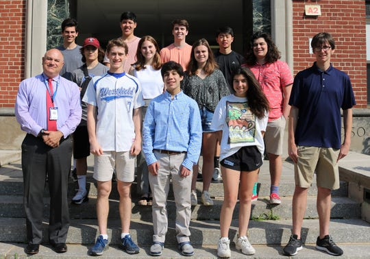 Pictured with WHS Interim Principal James DeSarno are (first row, L-R) John Czarnecki,, Spencer Feinstein, Grace Hutchinson, and Maxwell Scialabba.  (Second row, L-R):  Kyle Azzaretto, Madeline Katz, Kathryn Bartlett, and Jakob Tannenbaum. (Third row, L-R):  Spencer Rothfleisch, Eric Elizes, Justin Sawina, and Elijah Soh.