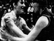 """From 1968: Denise Long of Union-Whitten, right, to Jeanette Olson of Everly after their state championship game: """"Don't cry or you will make me cry."""" Long and Union-Whitten beat Olson and Everly in overtime for the state title."""
