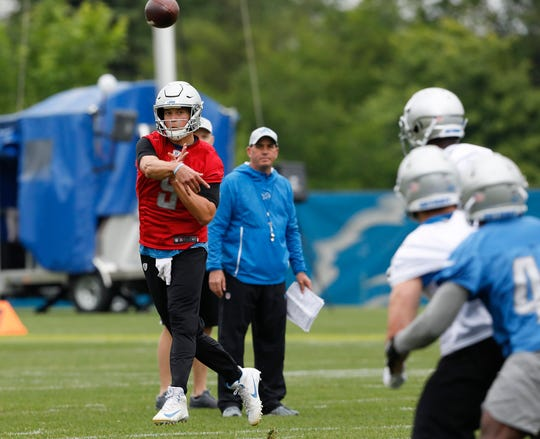 Matthew Stafford passes the ball during practice Thursday.