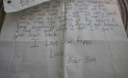 Andy Hopson,51 of Livonia, a recovering addict, talks about the loss of his son Dakota, who died on May, 5, 2016 of a heroin overdose. He recieved this letter from his son who was in rehab in California at the time.