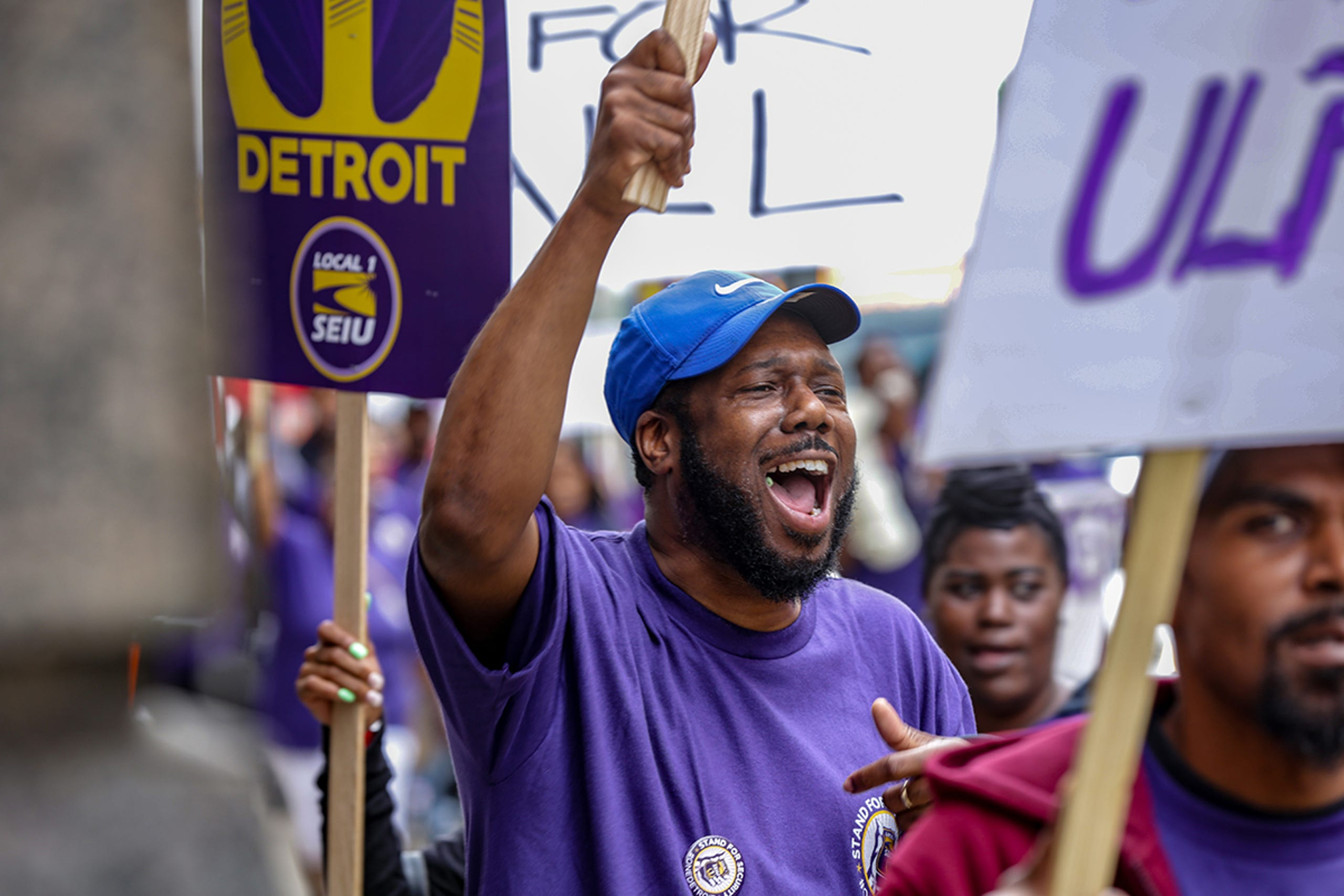 SEIU strike rally for downtown Detroit security guards draws
