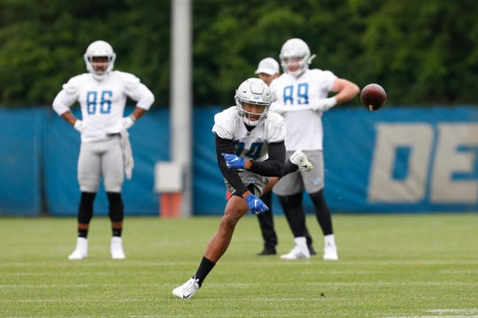 Lions wide receiver Travis Fulgham unable to make the catch during practice on Thursday, June 13, 2019, in Allen Park.