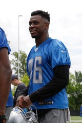 Lions cornerback Amani Oruwariye smiles as he walks off the field after practice on Thursday, June 13, 2019, in Allen Park.