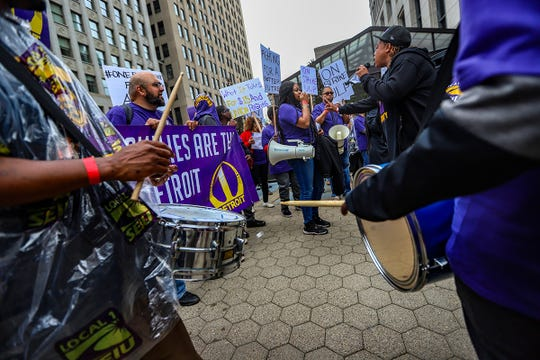 Union and nonunion workers gather for a rally in front of the Ally building in downtown Detroit after a planned walkout and strike Thursday, June 13, 2019, by private nonunion security guards at Bedrock-owned buildings in downtown Detroit. The strike had been announced by Service Employees International Union Local 1, which wants to organize the workers and help them push for $15 hourly wages.